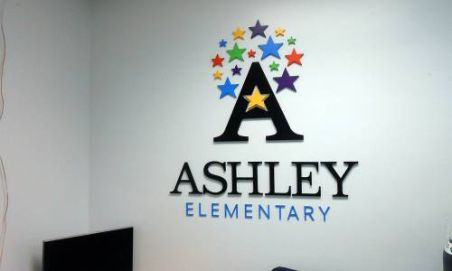 DPS Ashley logo on wall